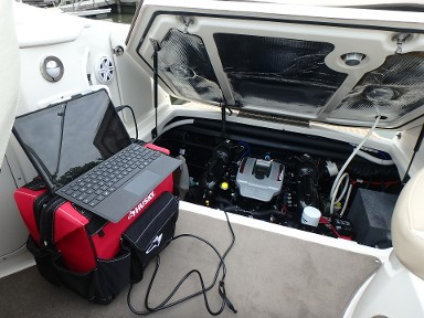Laptop, diagnostics report, survey, inspection, boat